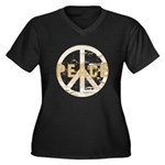 Distressed Peace Women's Plus Size V-Neck Dark T-S