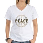 Distressed Peace Women's V-Neck T-Shirt