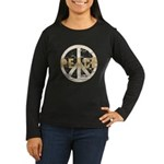 Distressed Peace Women's Long Sleeve Dark T-Shirt
