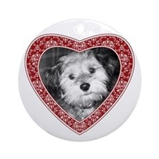 ADD PHOTO - heart frame Ornament (Round)