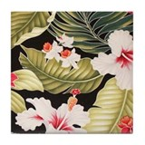 Black Hibiscus Hawaii Tile Coaster
