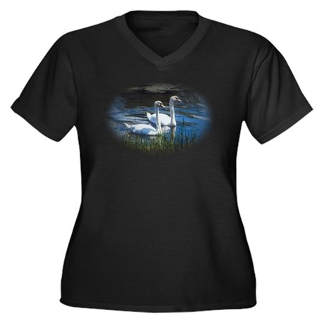 swans Women's Plus Size V-Neck Dark T-Shirt