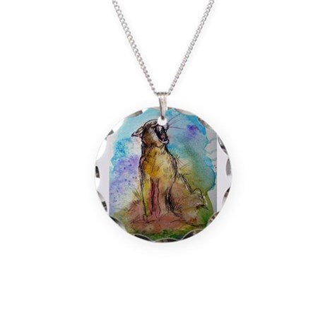 Mountain Lion, wildlife art, Necklace Circle Charm