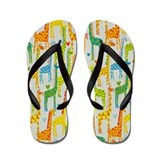 Yellow Giraffe Love Flip Flops