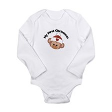 My First Christmas Girl Monke Long Sleeve Infant B
