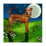 IRISH TERRIER DOG FULL MOON Tile Coaster
