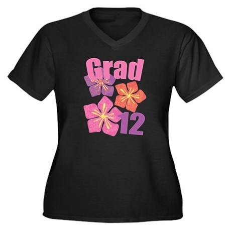 Hawaiian Grad 2012 Women's Plus Size V-Neck Dark T