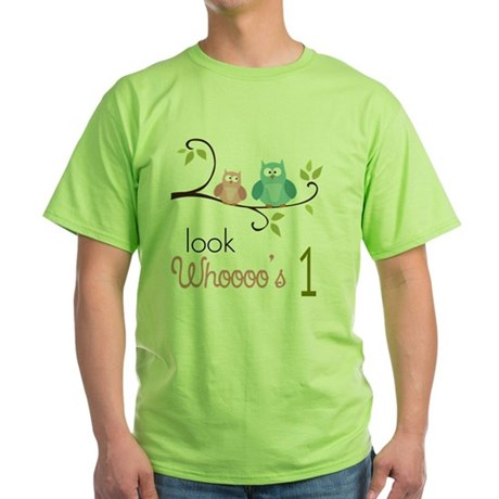 Custom Owl Birthday Green T-Shirt