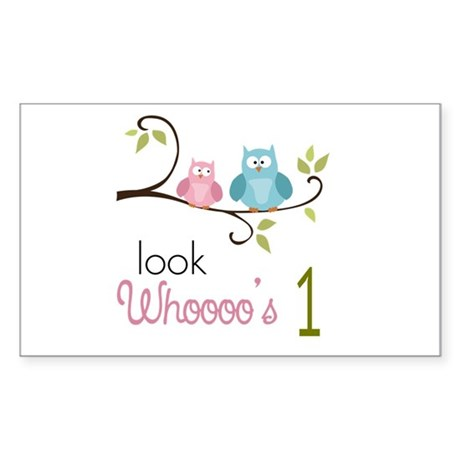 Custom Owl Birthday Sticker (Rectangle)