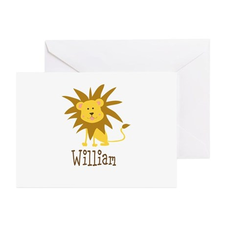 Custom Name Lion Greeting Cards (Pk of 10)