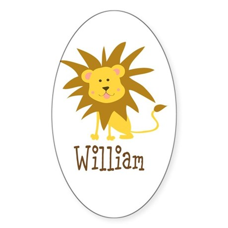 Custom Name Lion Sticker (Oval 10 pk)