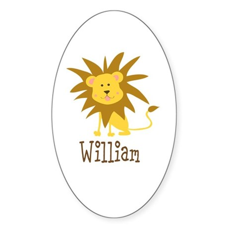 Custom Name Lion Sticker (Oval 50 pk)