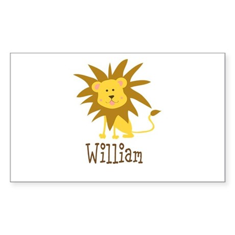 Custom Name Lion Sticker (Rectangle)