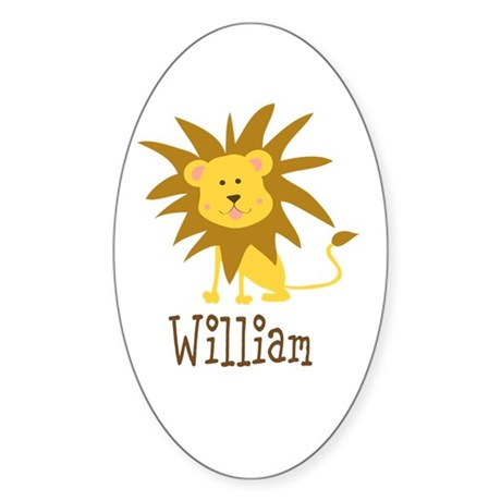 Custom Name Lion Sticker (Oval)