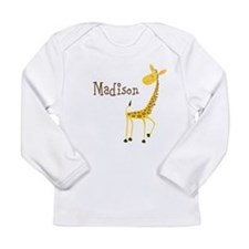 Custom Name Giraffe Long Sleeve Infant T-Shirt