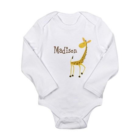 Custom Name Giraffe Long Sleeve Infant Bodysuit
