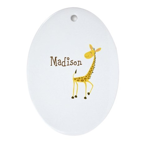 Custom Name Giraffe Ornament (Oval)