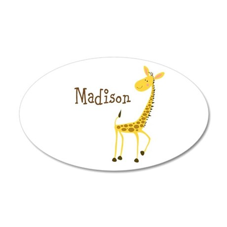 Custom Name Giraffe 22x14 Oval Wall Peel