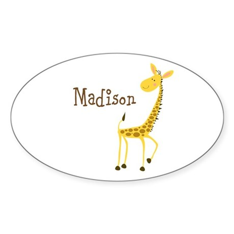 Custom Name Giraffe Sticker (Oval)