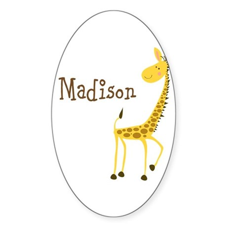 Custom Name Giraffe Sticker (Oval 10 pk)