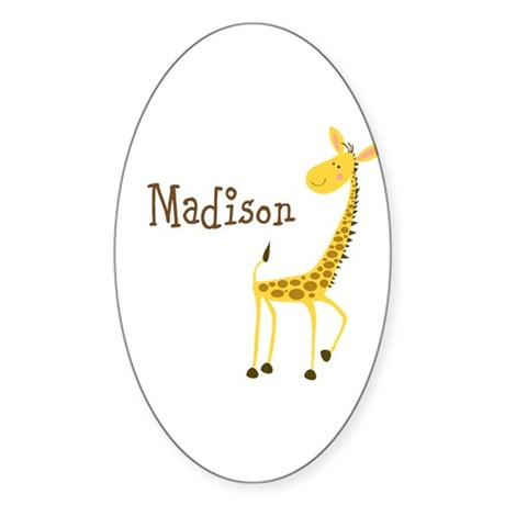 Custom Name Giraffe Sticker (Oval 50 pk)