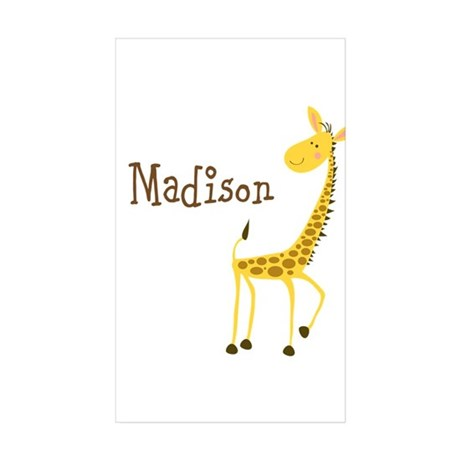 Custom Name Giraffe Sticker (Rectangle 50 pk)