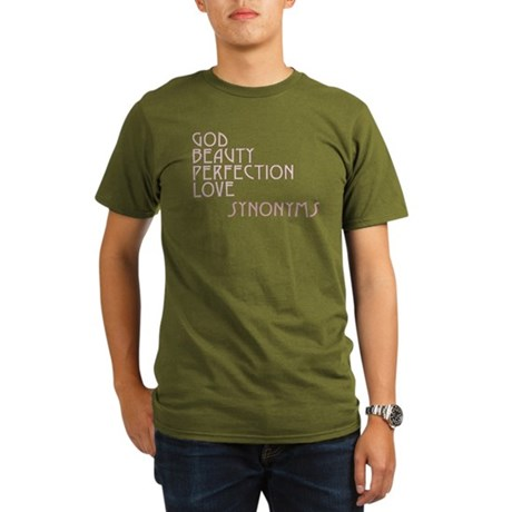 God Beauty Perfection Love Organic Men's Dark T-Shirt
