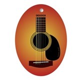 acoustic guitar cherry sunburst Ornament (Oval)