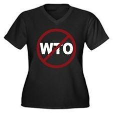 NO WTO Women's Plus Size V-Neck Dark T-Shirt