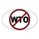 NO WTO Sticker (Oval 50 pk)