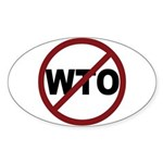 NO WTO Sticker (Oval)