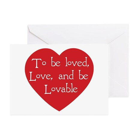 Love and be Lovable Greeting Cards ~ Package of 20