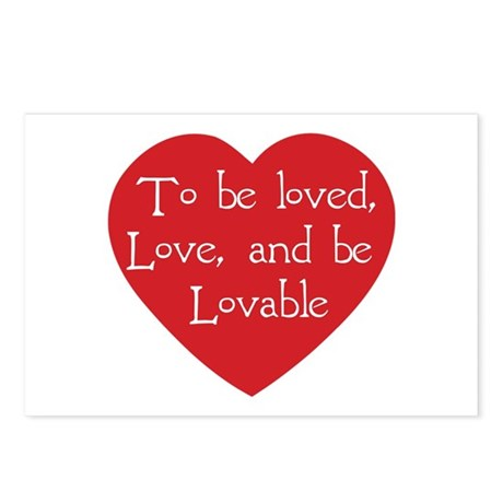 Love and be Lovable Postcards ~ Package of 8