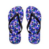 Quilted Look Blue Flip Flops