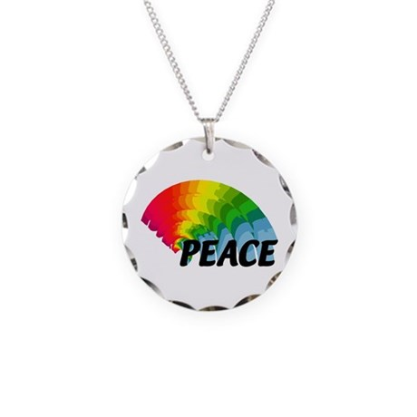 Rainbow Peace Necklace Circle Charm
