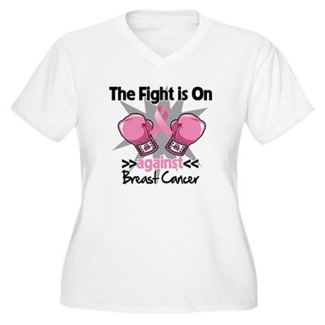 Fight is On Breast Cancer Women's Plus Size V-Neck