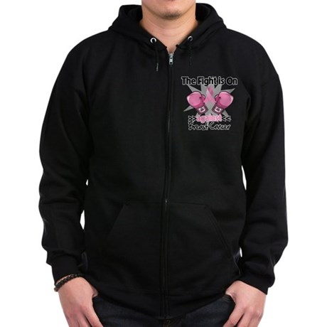 Fight is On Breast Cancer Zip Hoodie (dark)