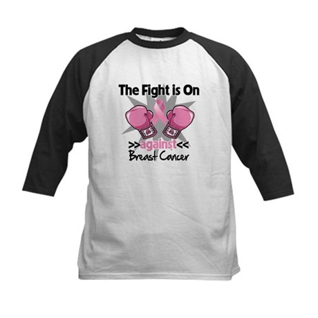 Fight is On Breast Cancer Kids Baseball Jersey
