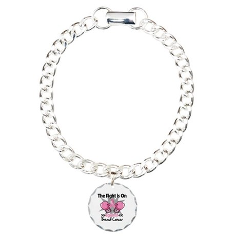 Fight is On Breast Cancer Charm Bracelet, One Char