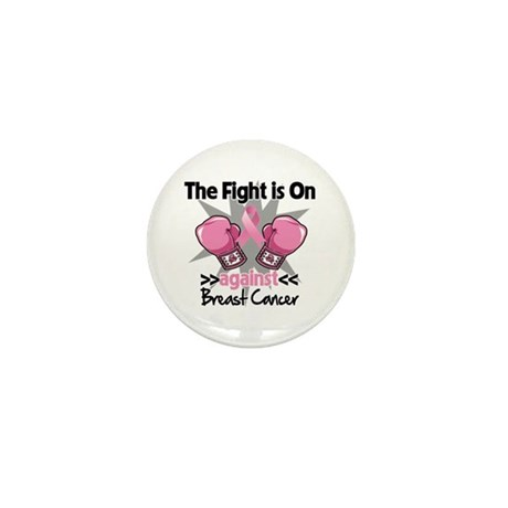 Fight is On Breast Cancer Mini Button (100 pack)
