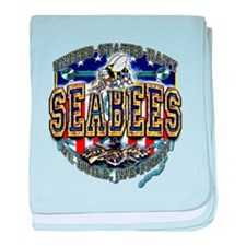 USN Navy Seabees Shield baby blanket