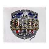 USN Navy Seabees Anchor Shiel Throw Blanket