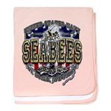 USN Navy Seabees Anchor Shiel baby blanket