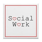 Social Work Hearts Tile Coaster