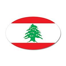 Flag of Lebanon 22x14 Oval Wall Peel
