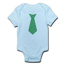 Green Striped Tie Shirt Infant Bodysuit