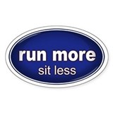 Run More, Sit Less Sticker BLUE (Oval)