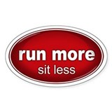 Run More, Sit Less Sticker RED (Oval)