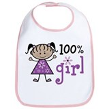 Stick Figure 100% Girl Bib