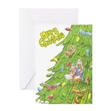 Christmas Airplane Tree Greeting Card